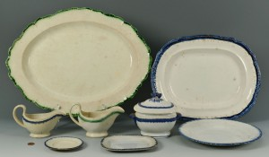 Lot 279: Grouping of Leeds Feather Edge Pearlware, 8