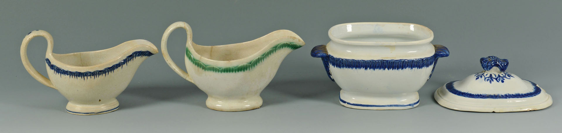 Grouping of Leeds Feather Edge Pearlware, 8