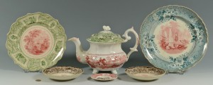 Lot 280: 6 pcs Staffordshire 2- color transferware