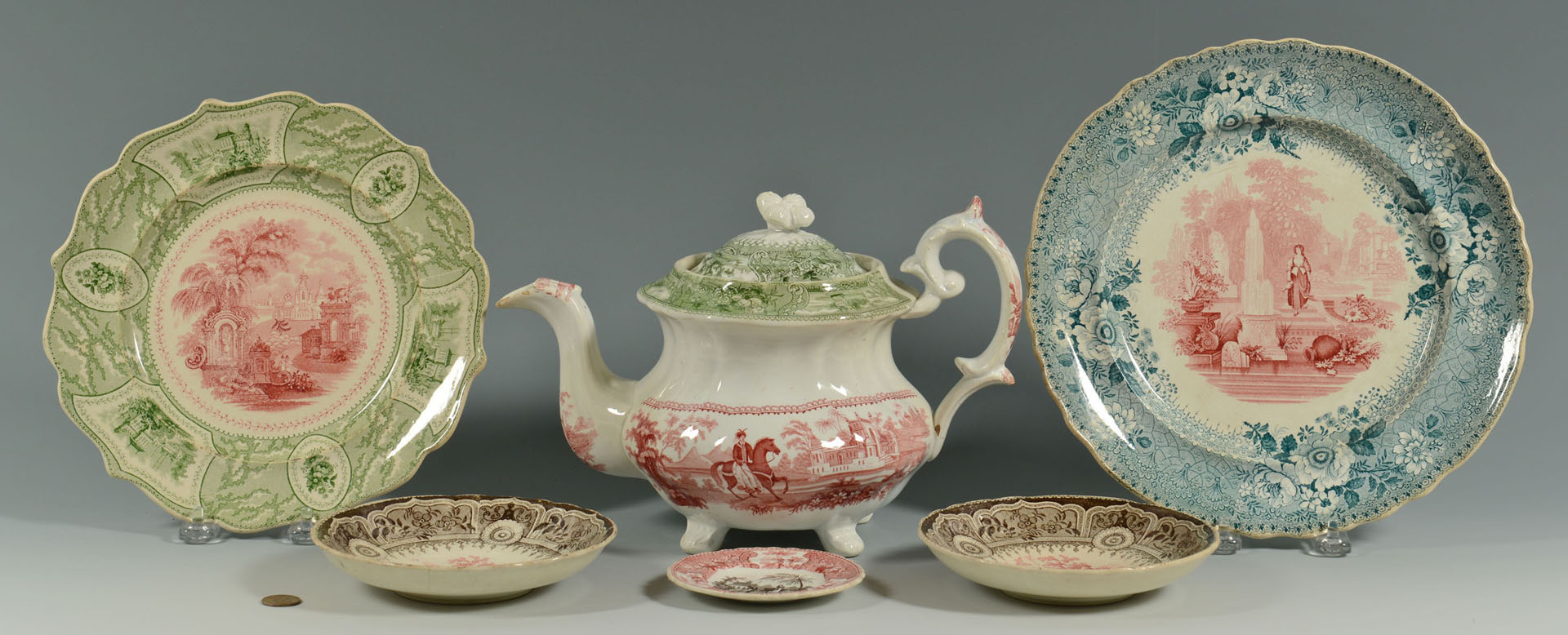 6 pcs Staffordshire 2- color transferware