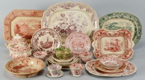 Lot 282: 25 pcs colored Staffordshire transferware