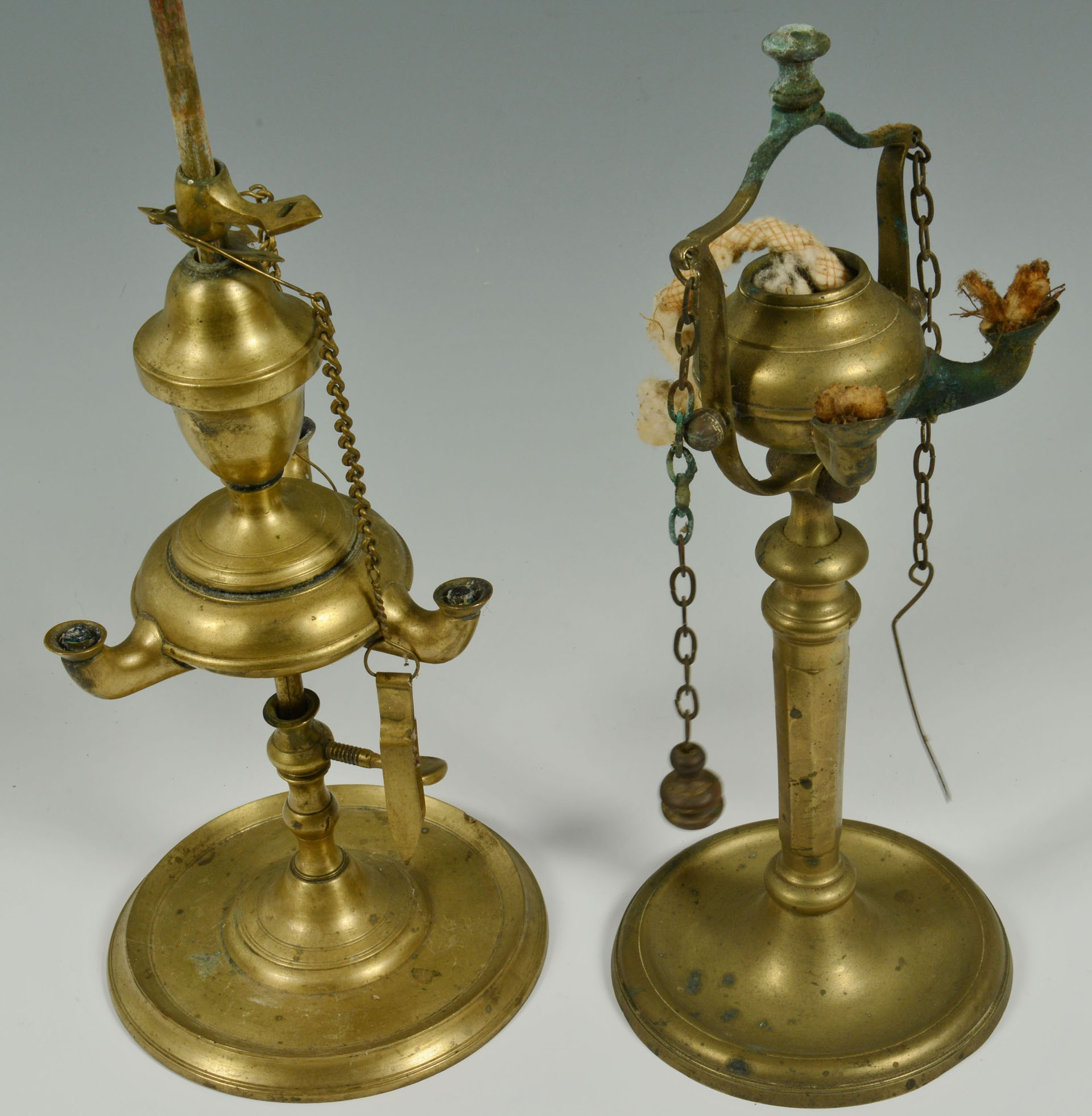8 Glass Amp Brass Oil Lamps Includ Lucerne