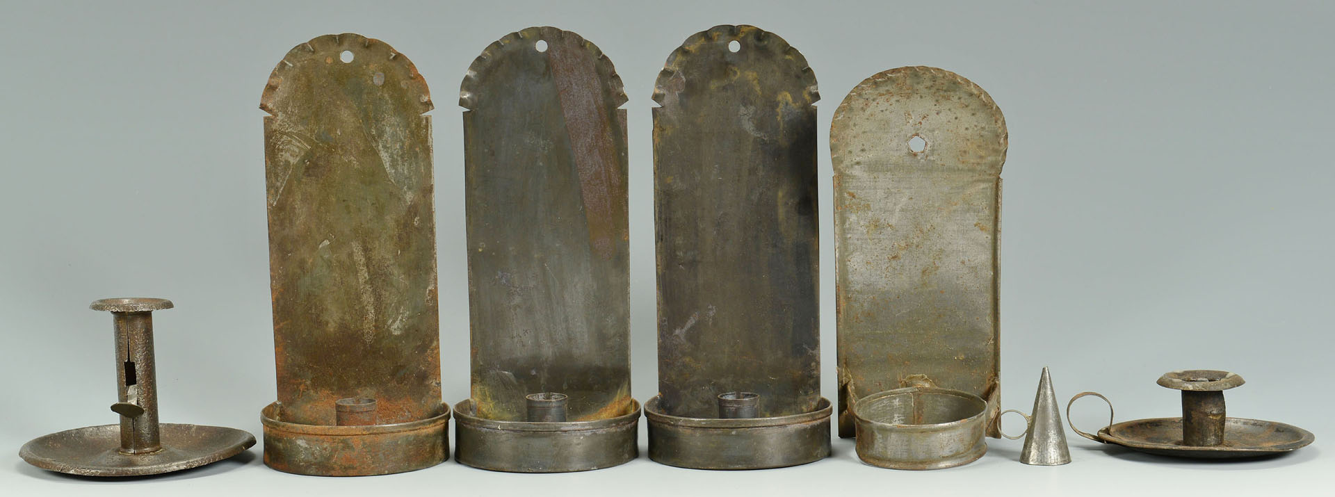 Lot 286: Grouping of Early Tin and Iron Lighting, 15 items