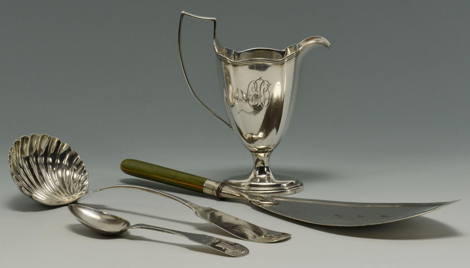 Coin Silver Creamer, Ladle  & Spoon w/ English Fish Server