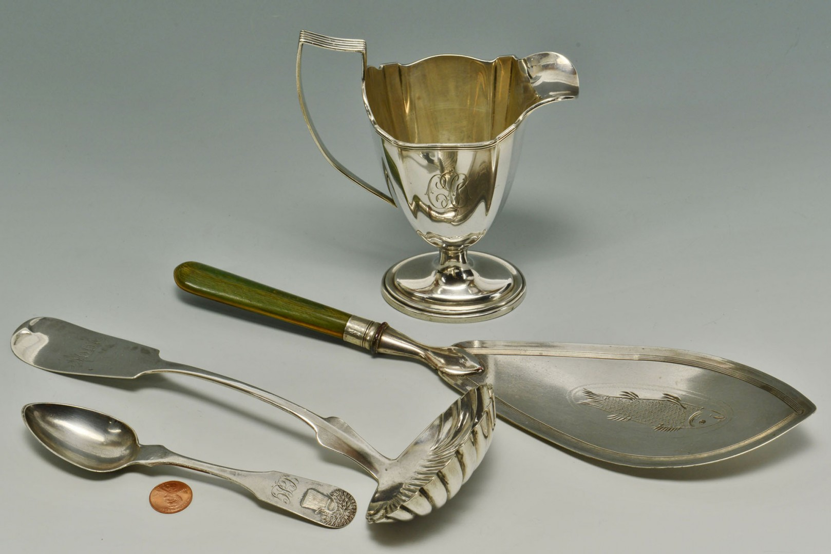 Coin Silver Creamer, Ladle  & Spoon w/ English Fish Server