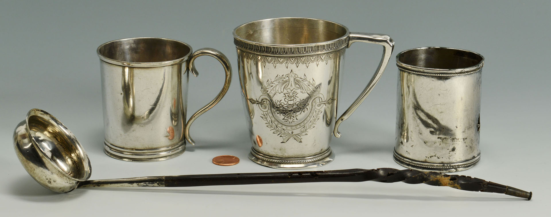 Lot 290: 3 Coin Silver Cups and Silver Metal/Horn Ladle