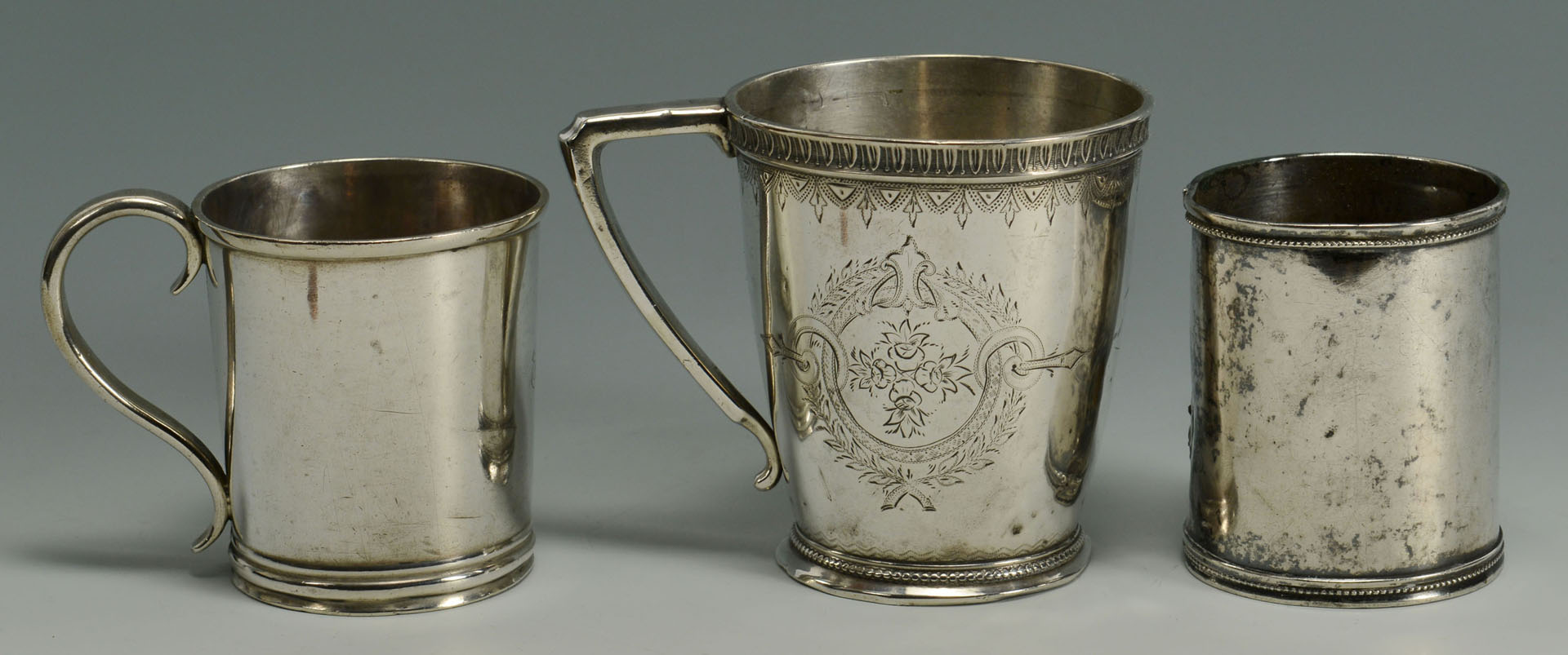 3 Coin Silver Cups and Silver Metal/Horn Ladle