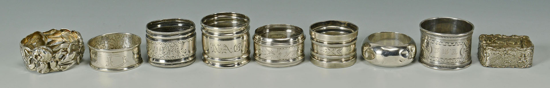 Sterling candy dish, juleps, napkin rings, nut dishes