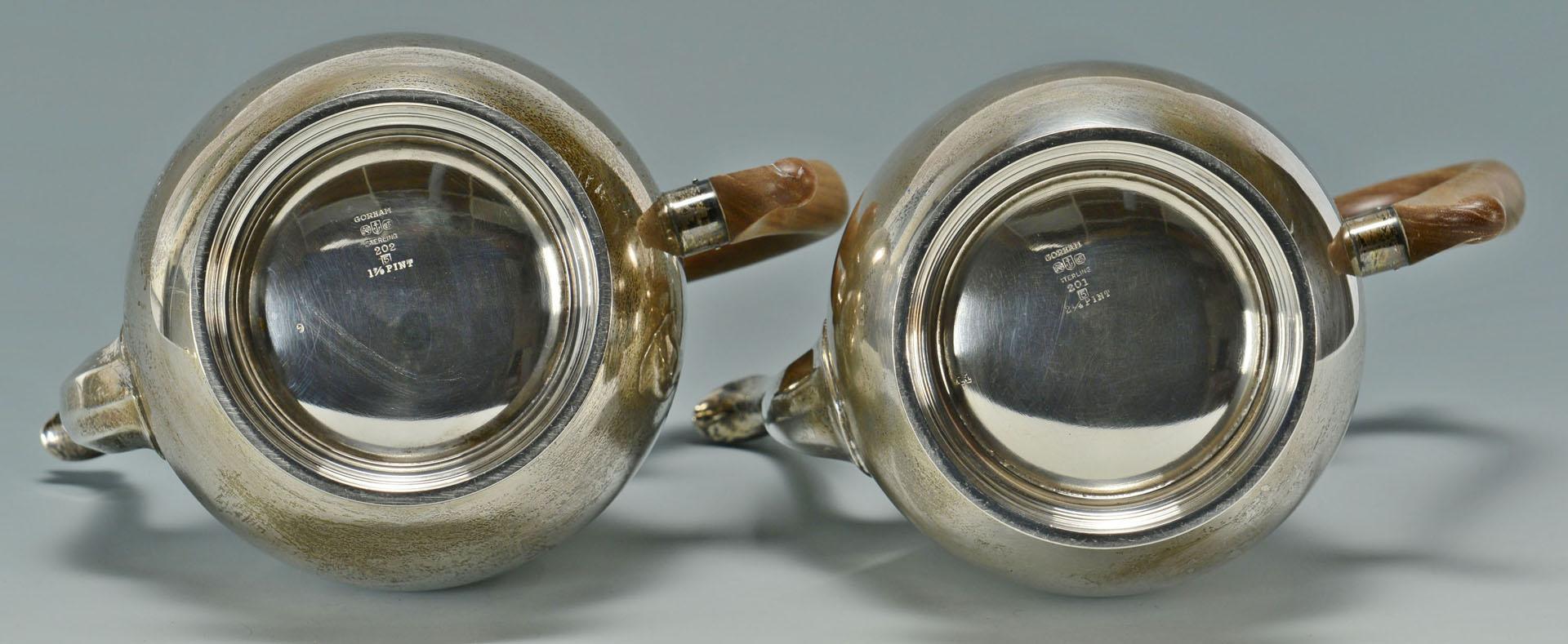 Lot 296: Gorham Sterling Silver Tea Service, 201 pattern