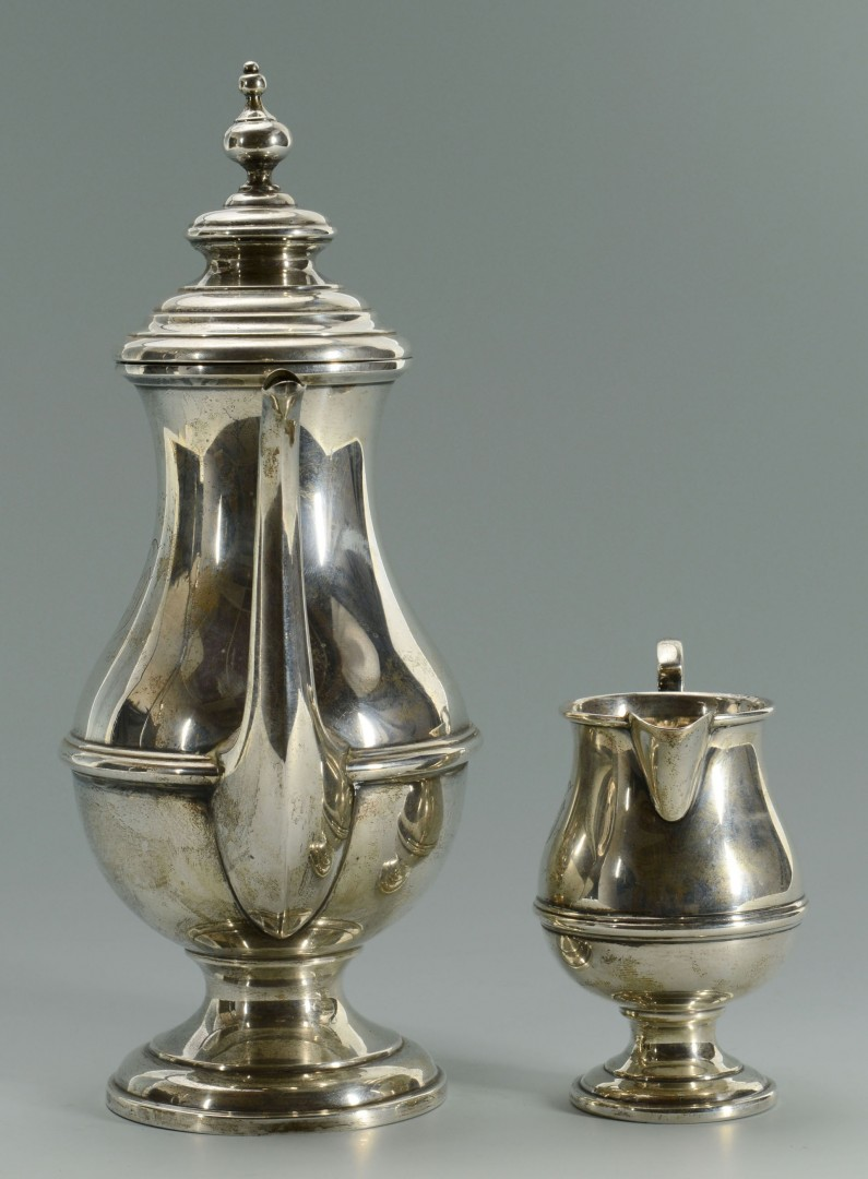 Sterling silver teapot and creamer, George III Style