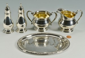 Lot 299: Prelude Pattern cream and sugar, tray, and s/p sha