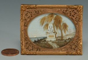 Lot 29: Ivory and Hair Classical Mourning Scene
