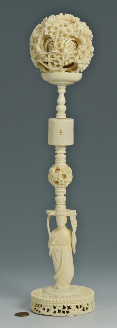 Lot 2: Large Carved Asian Ivory Puzzle Ball on Stand
