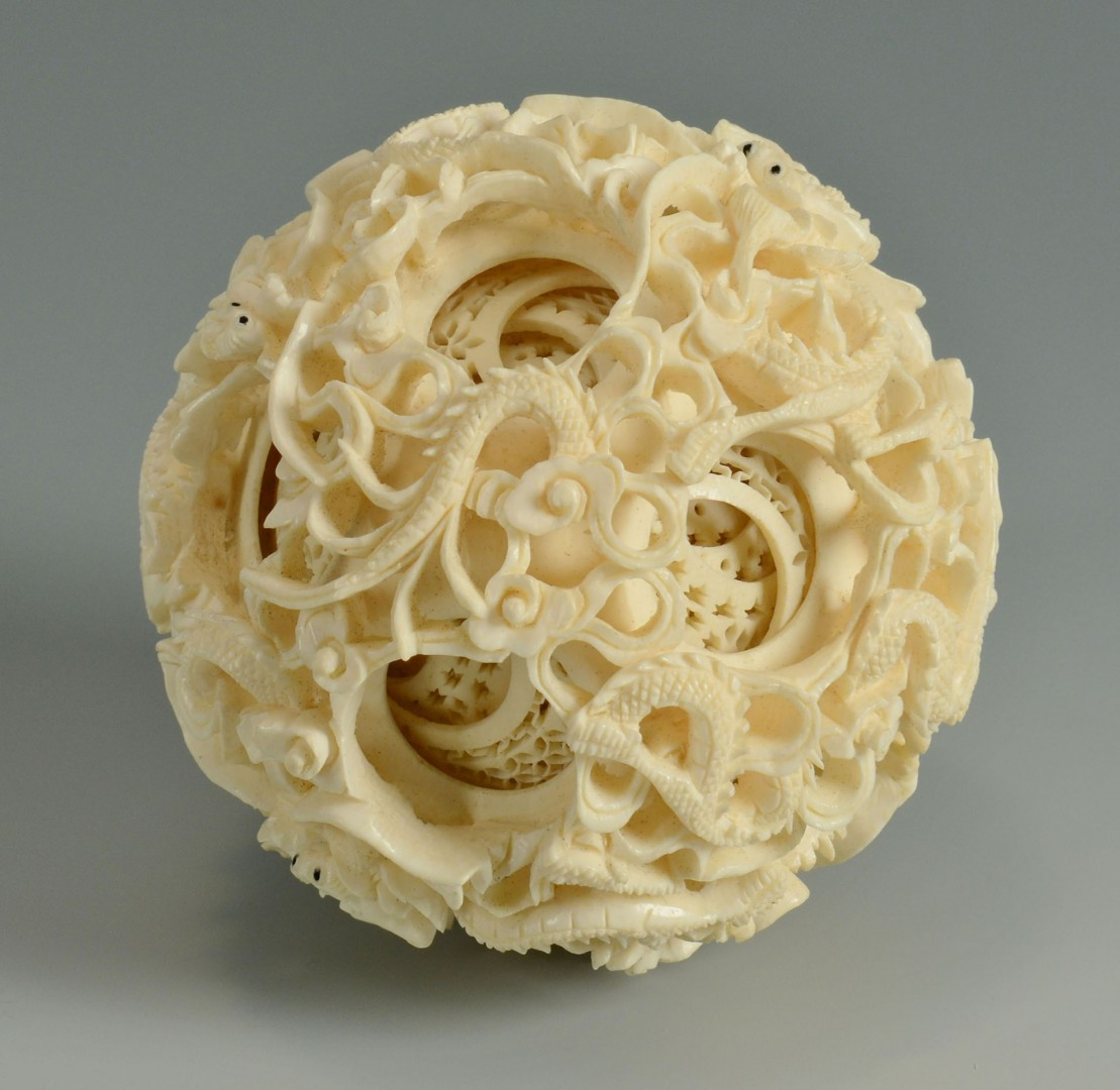 Large Carved Asian Ivory Puzzle Ball on Stand