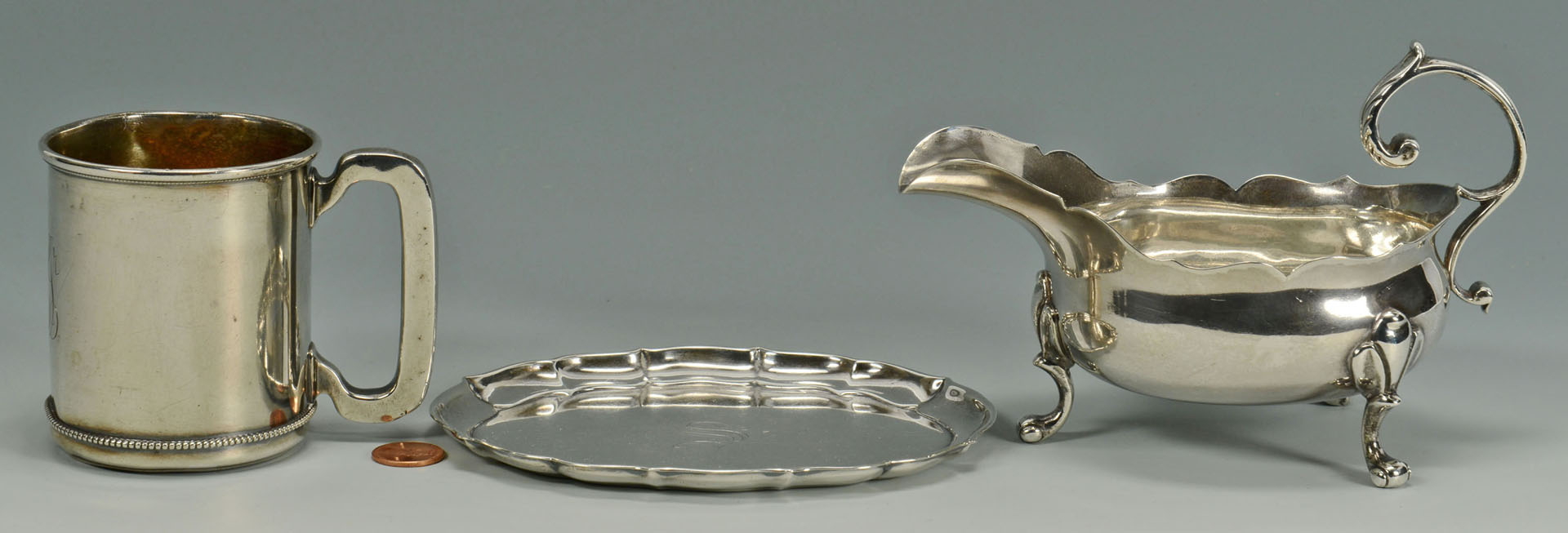 Sterling silver gravy boat, tray and cup