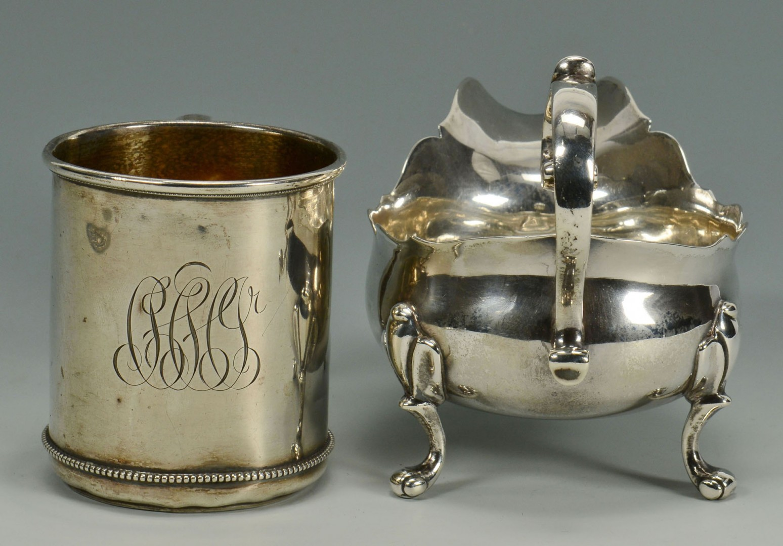 Lot 300: Sterling silver gravy boat, tray and cup