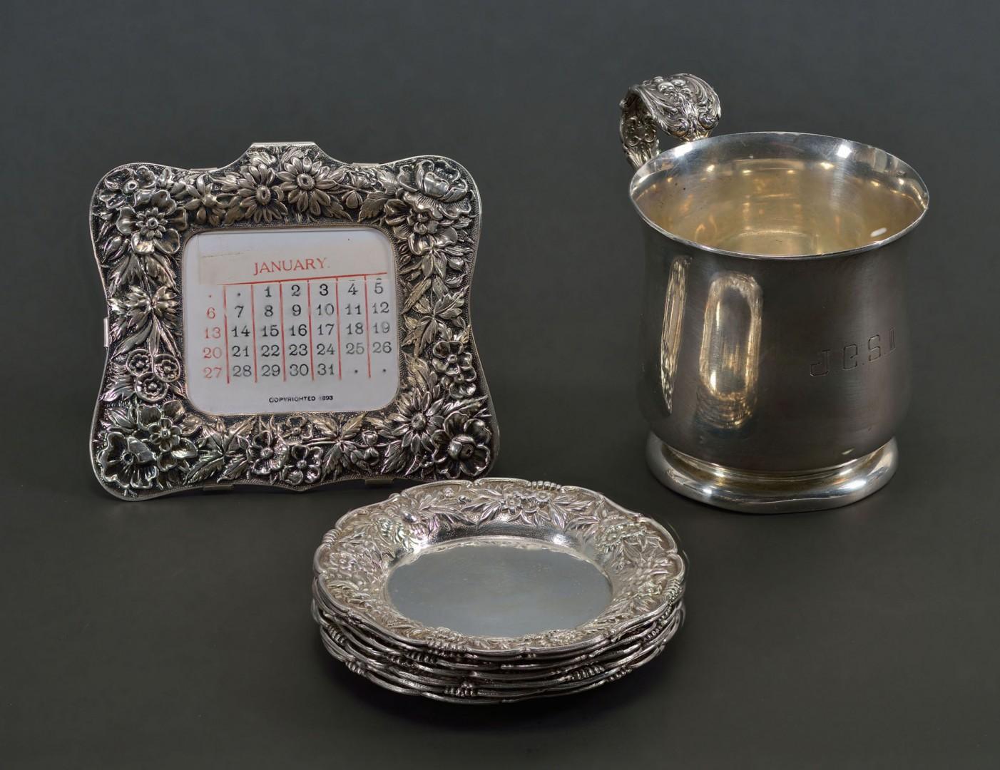 Kirk Repousse Butter Pats & Calendar, Francis I Cup