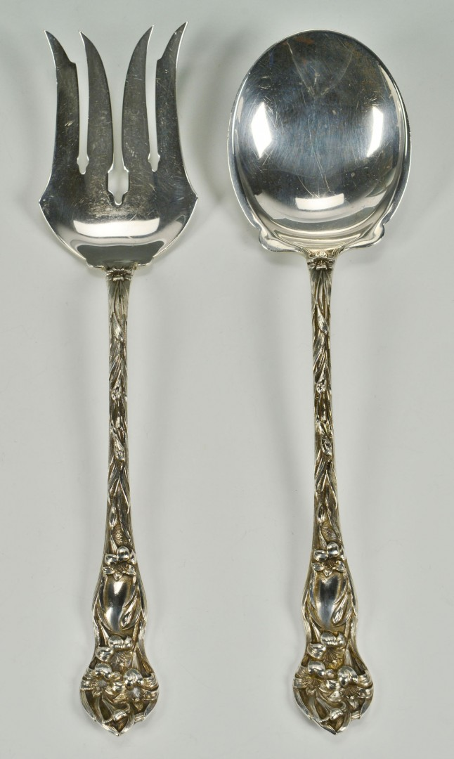 Lot 303: Large sterling serving fork and spoon, Watson Lily