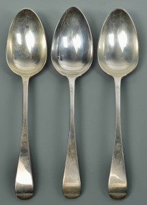 Lot 306: Three George III Table or Serving Spoons, Paul Sto