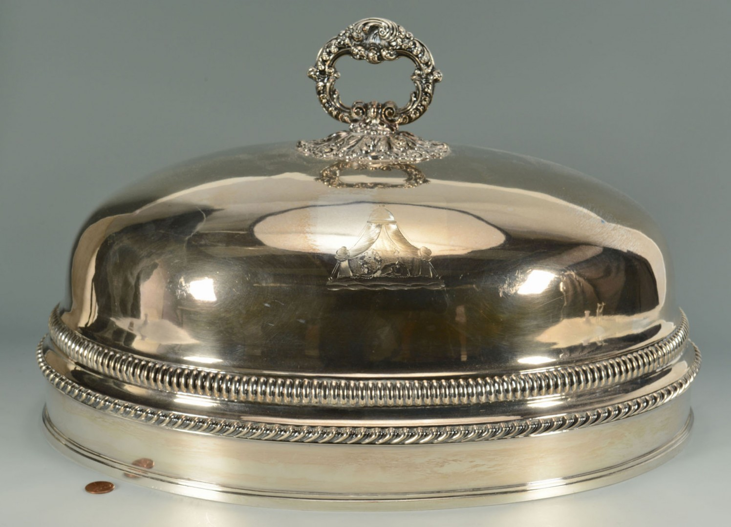 Lot 307: Large Victorian Meat Dome and Tray