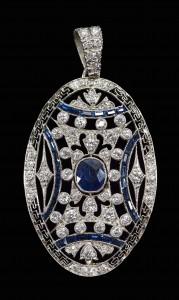 Lot 308: 18KT Diamond & Sapphire Art Deco pendant