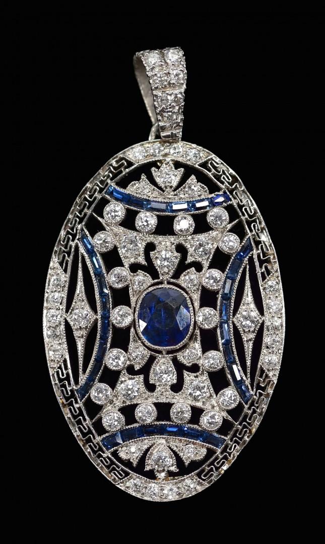 18KT Diamond & Sapphire Art Deco pendant