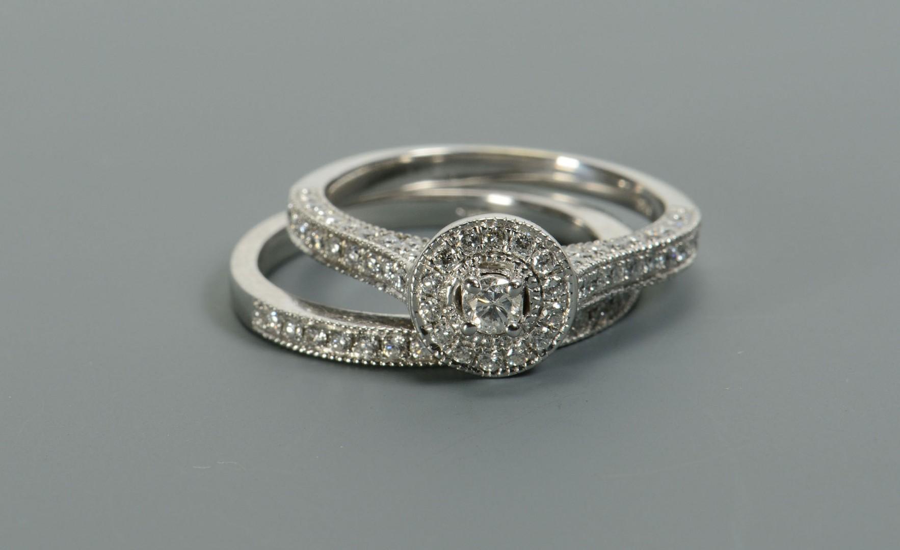 Lot 309: Lady's 14k Diamond Wedding Set