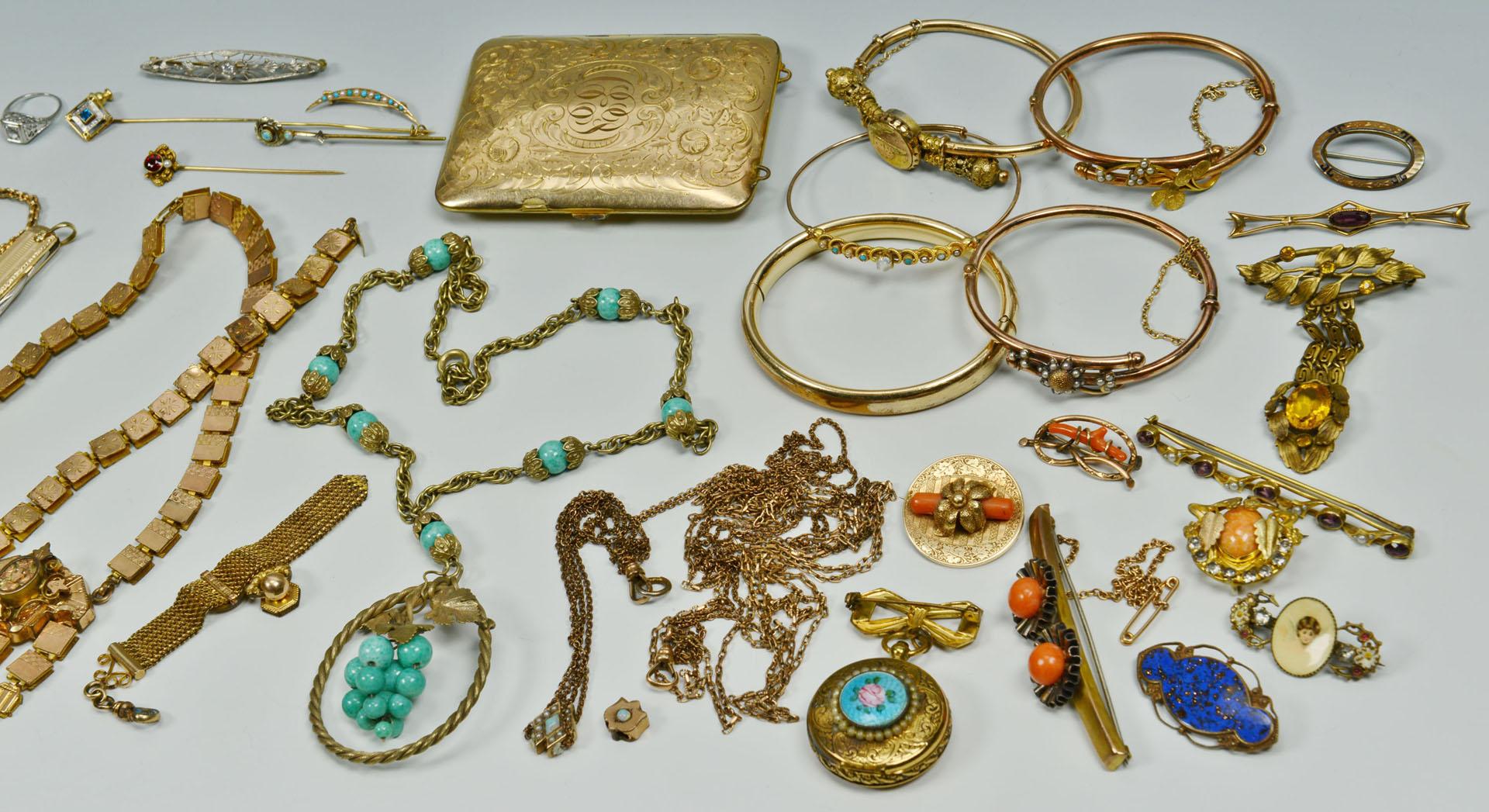 Lot 310: 14K,10K Victorian and Edwardian Jewelry plus