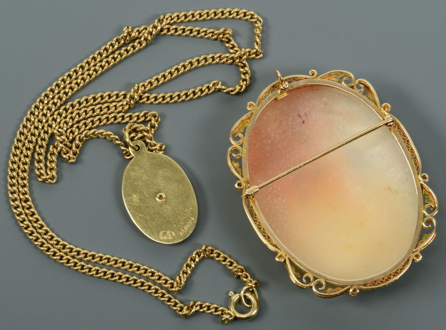 18k London pendant and GF Cameo