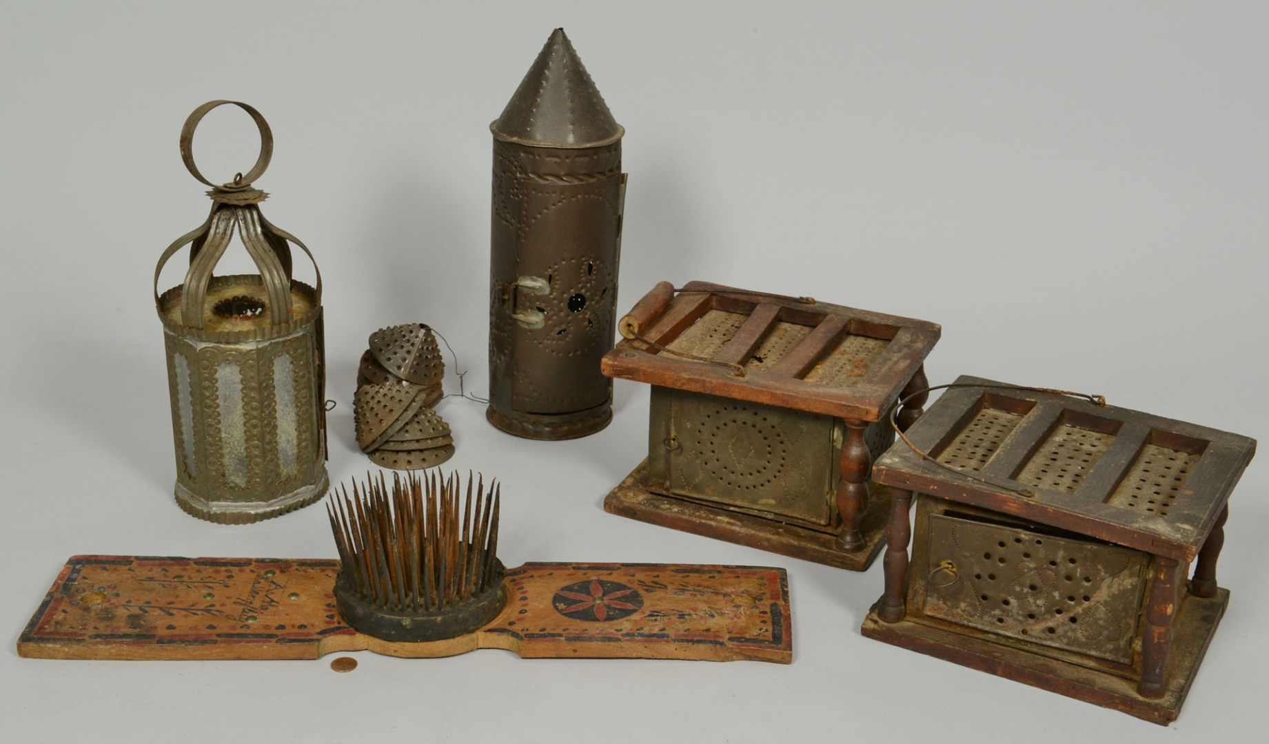 Lot 323: Group of Early American Tin Ware & Hatchel