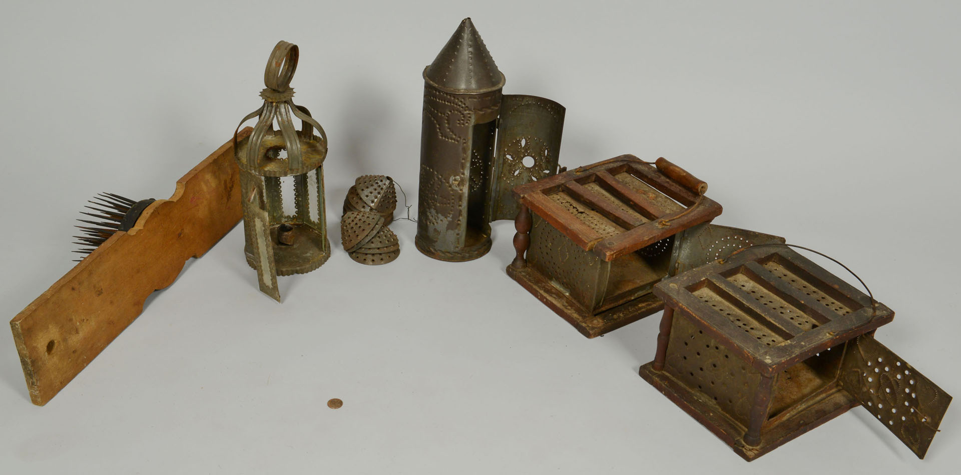 Group of Early American Tin Ware & Hatchel
