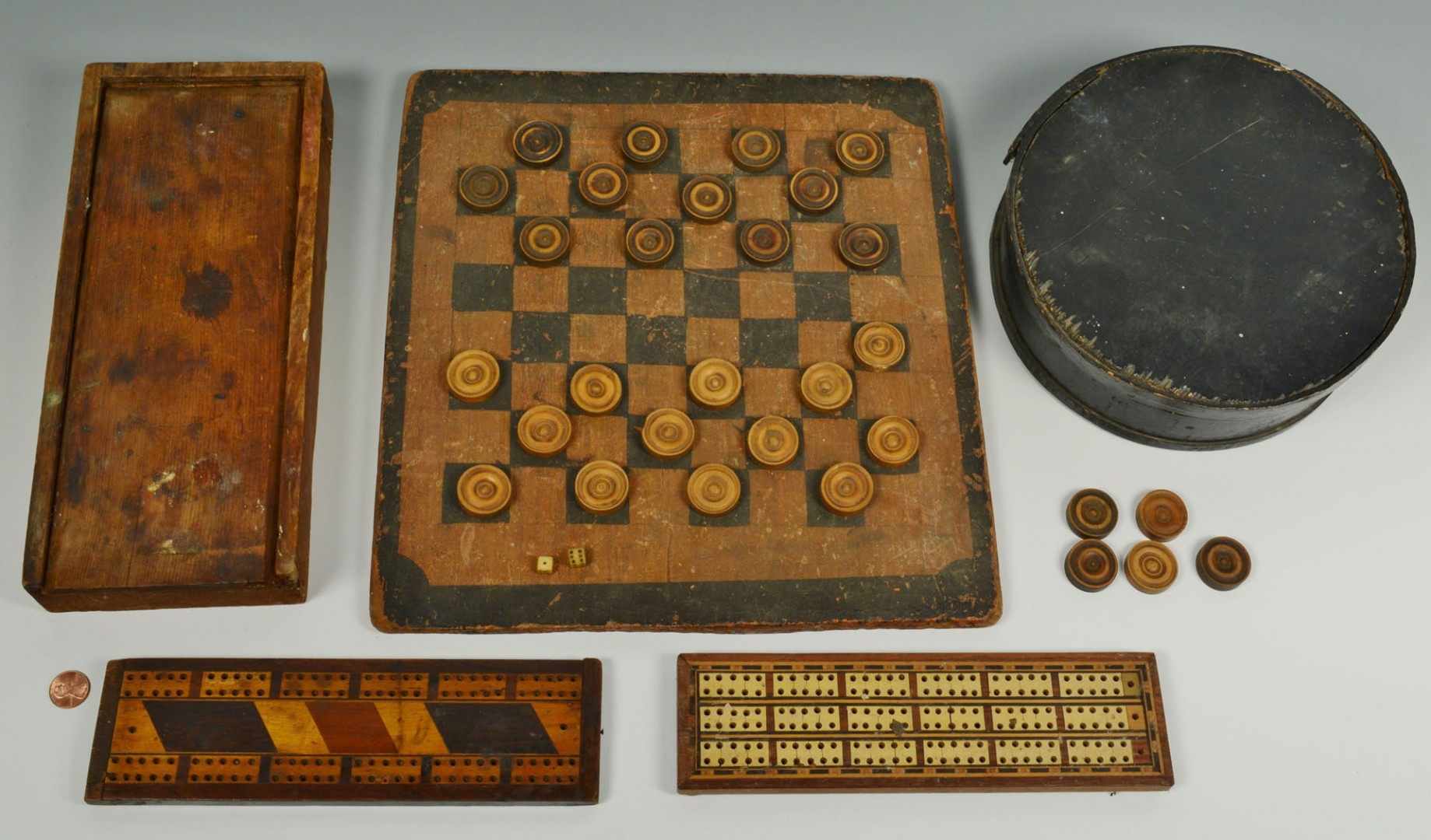 Lot 327: 5 Folk art game related items, checkerboard