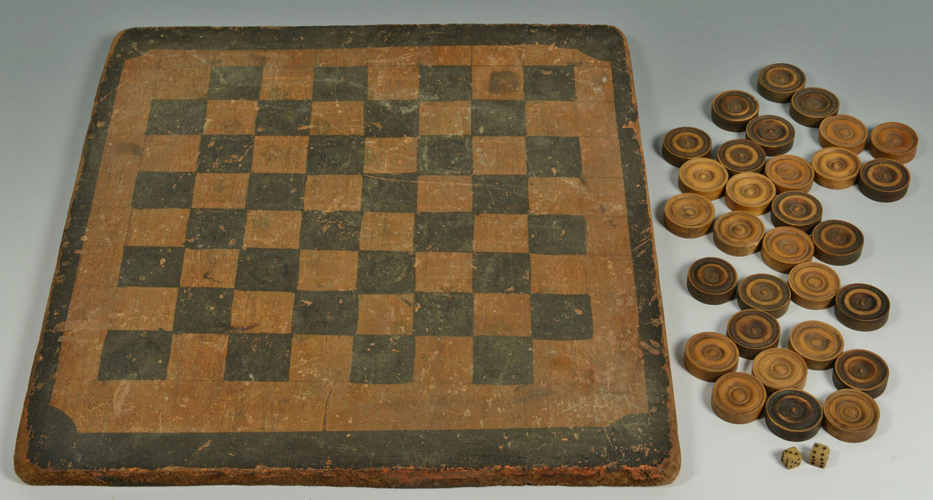 5 Folk art game related items, checkerboard