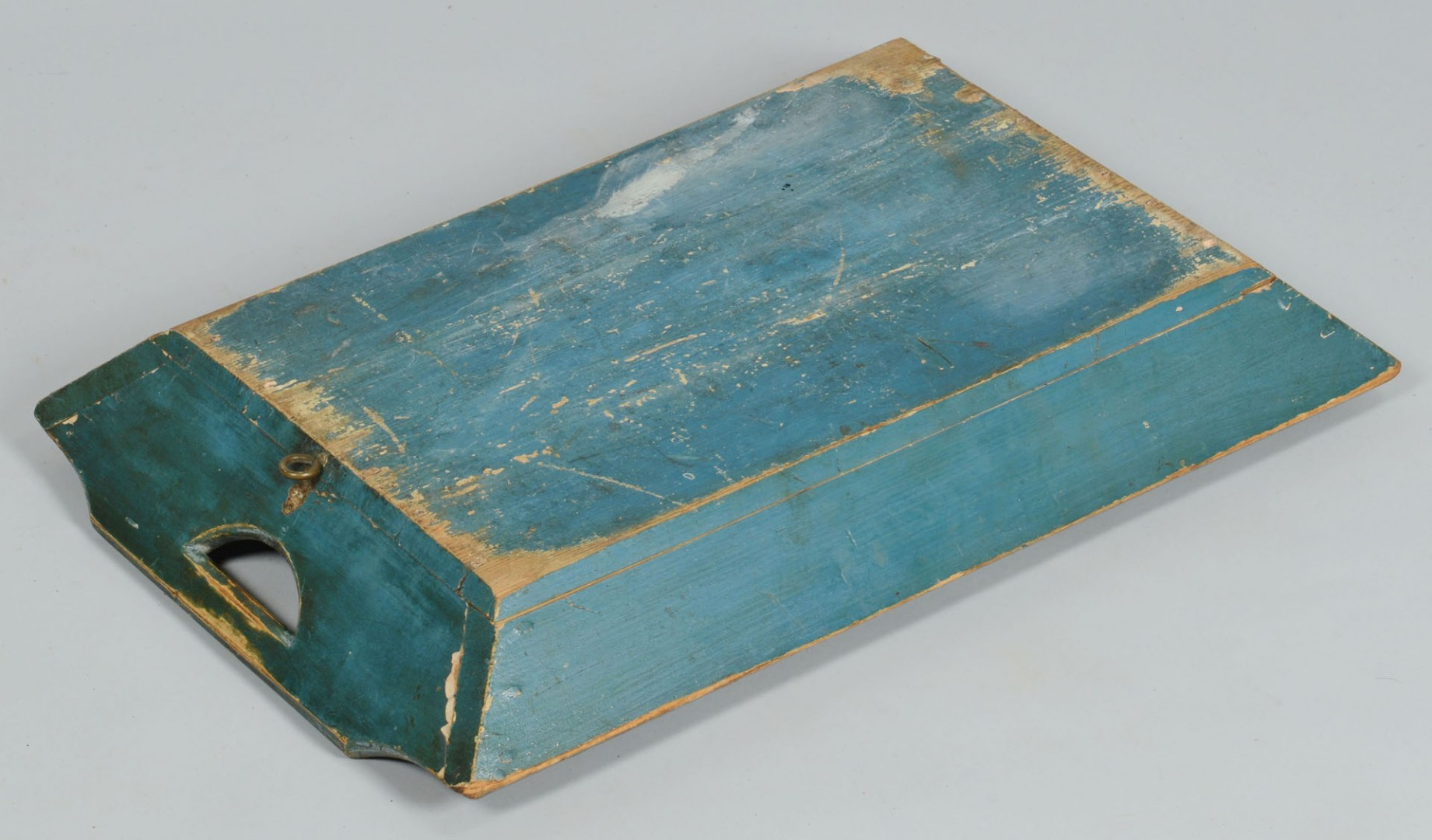 Lot 328: Group of 19th c. painted boxes, shelf, tray, 4 pcs