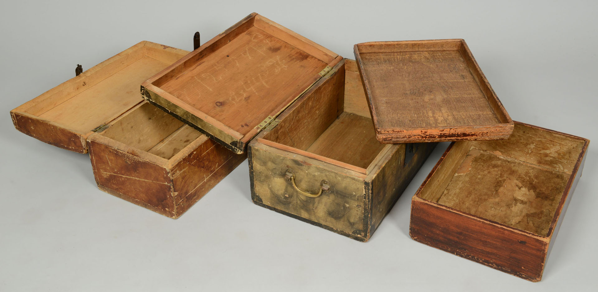 Grouping of 3 Grain painted document boxes