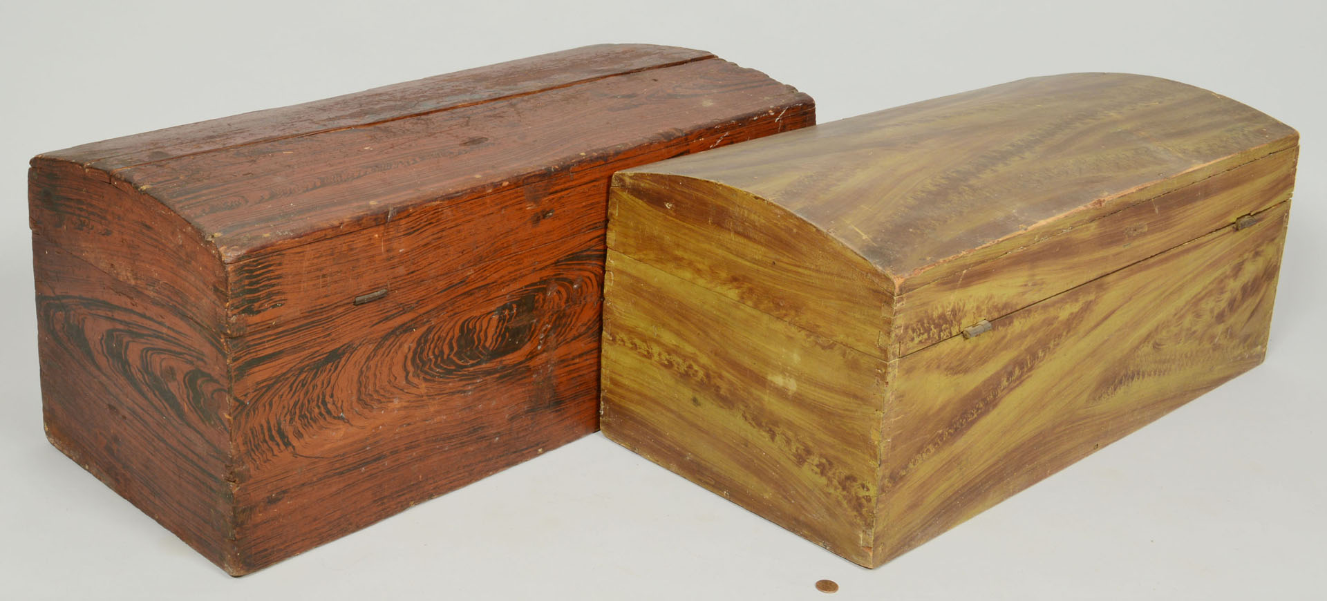2 Small Grain Painted Dome Top Chests, 19th cent.