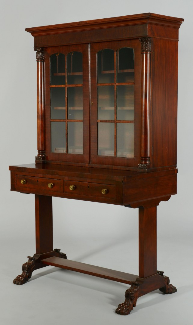 Classical Bookcase and Writing Table with Birdseye Maple