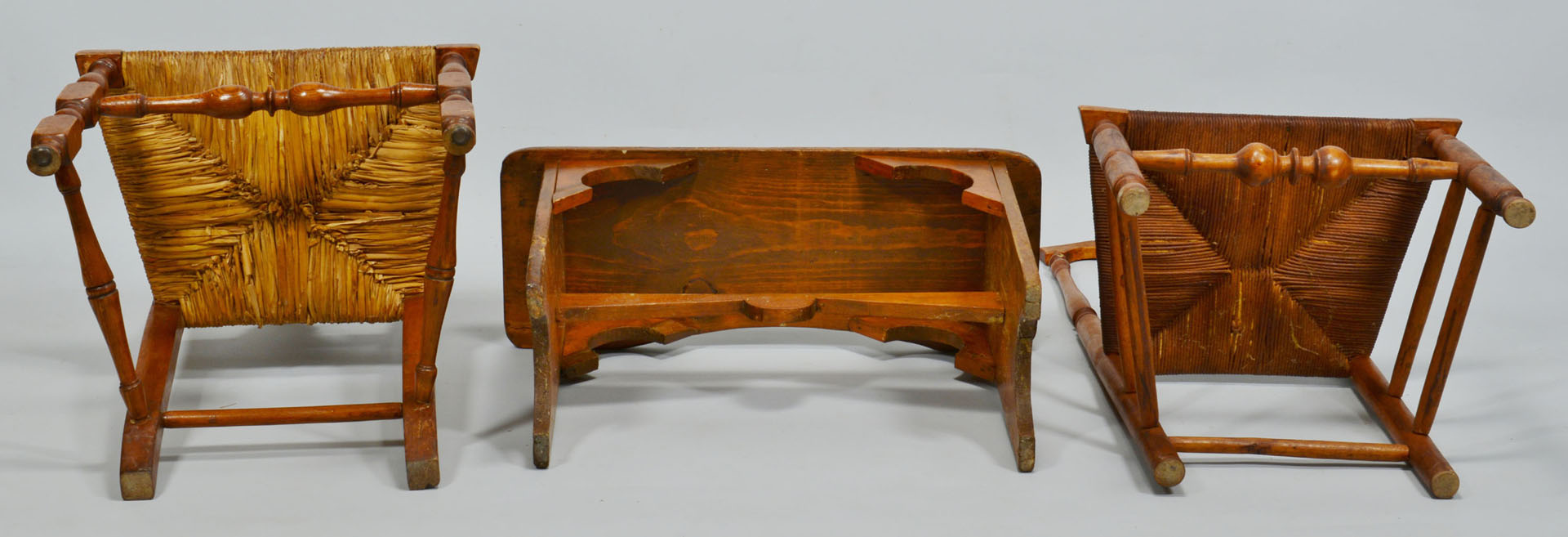 Lot 341: 2 Queen Anne Chairs and Trestle Bench