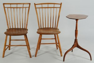 Lot 342: Federal Candlestand & 2 Birdcage Windsors