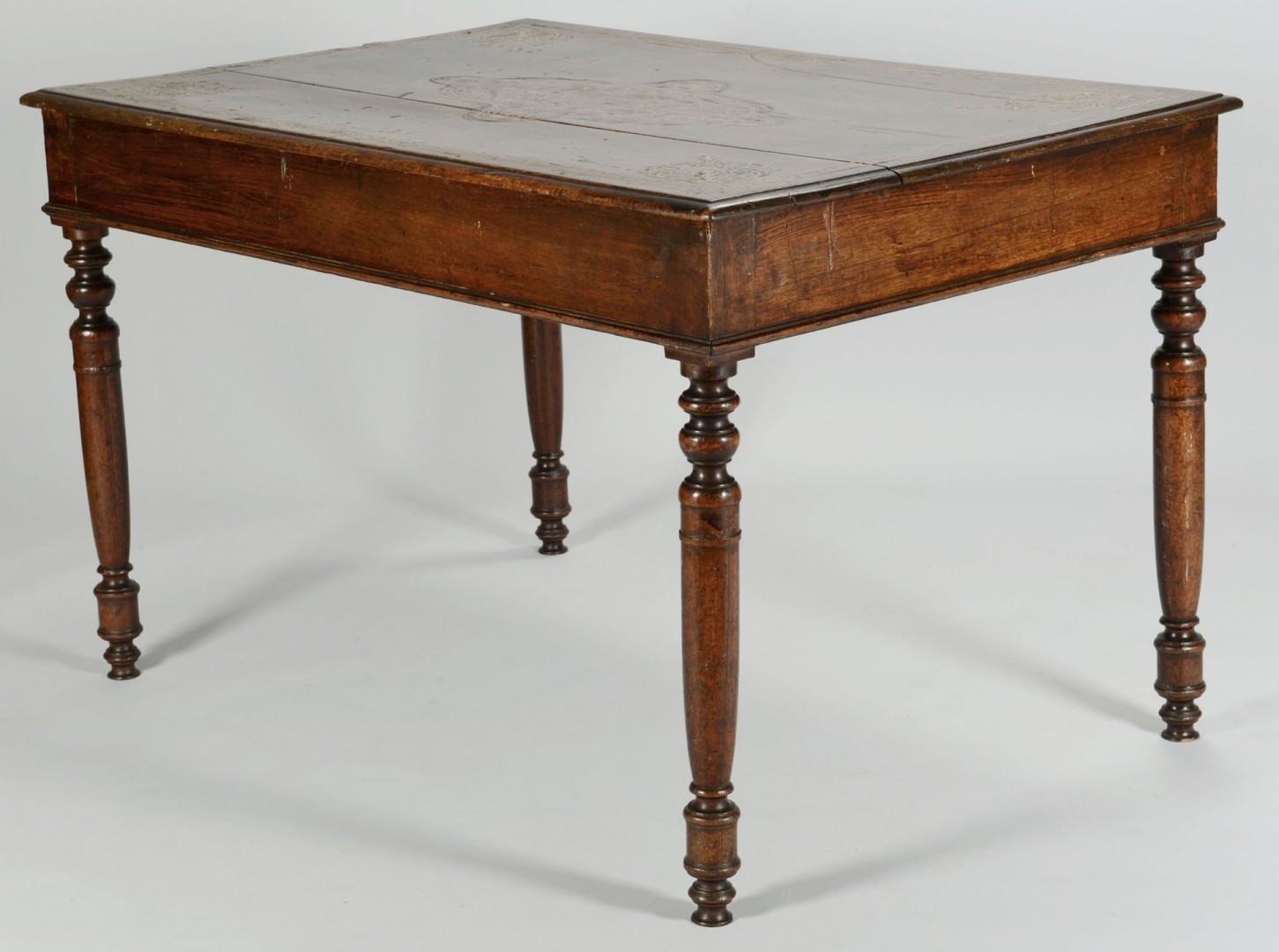 Lot 344: Continental inlaid writing table or desk