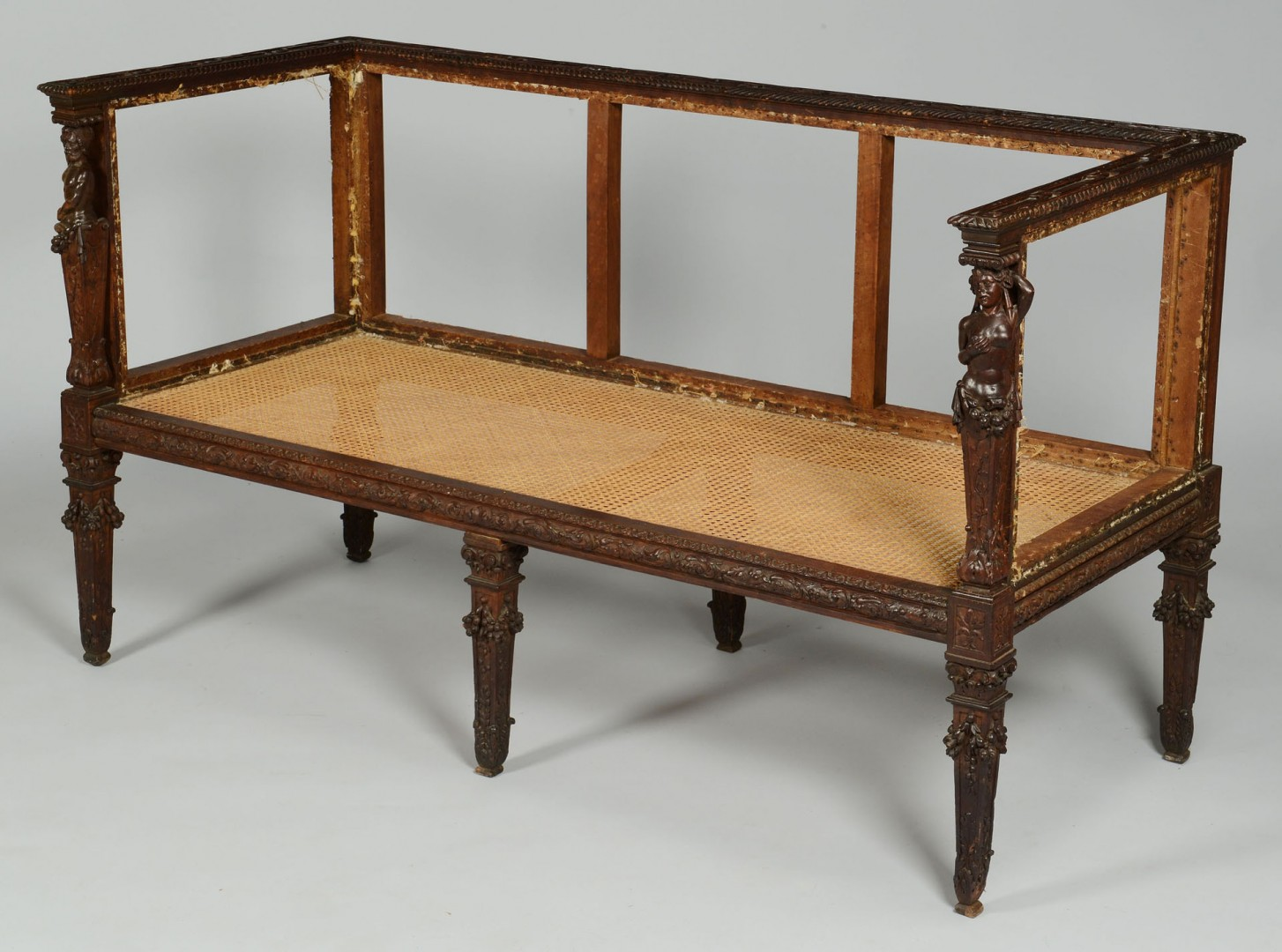 Carved Renaissance Style Settee & 15th C. Fabric