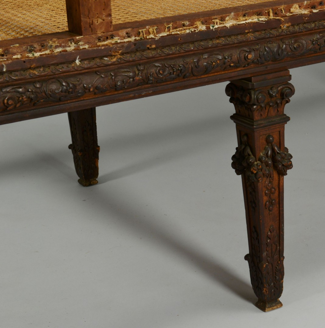 Lot 348: Carved Renaissance Style Settee & 15th C. Fabric