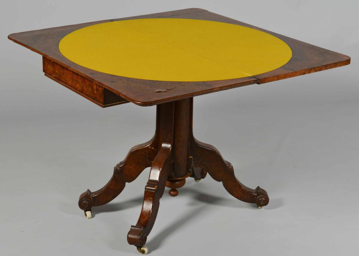 Lot 349: Burl Wood Card Table, Renaissance Revival
