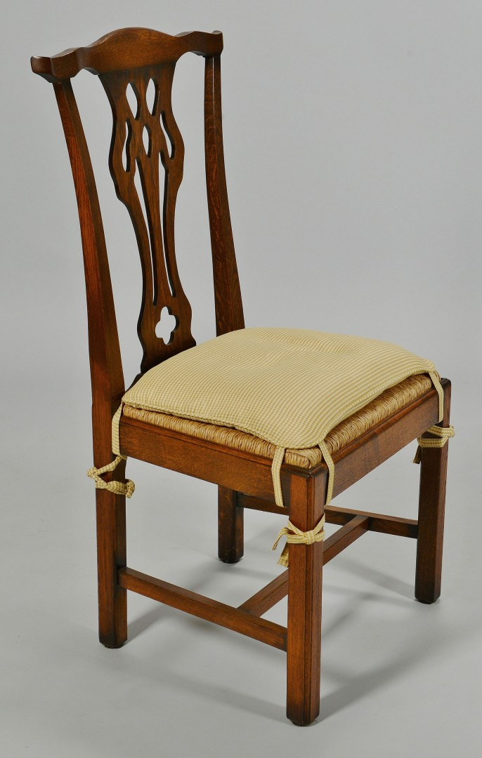 Lot 351: Set of 12 Chippendale style Oak Dining Chairs