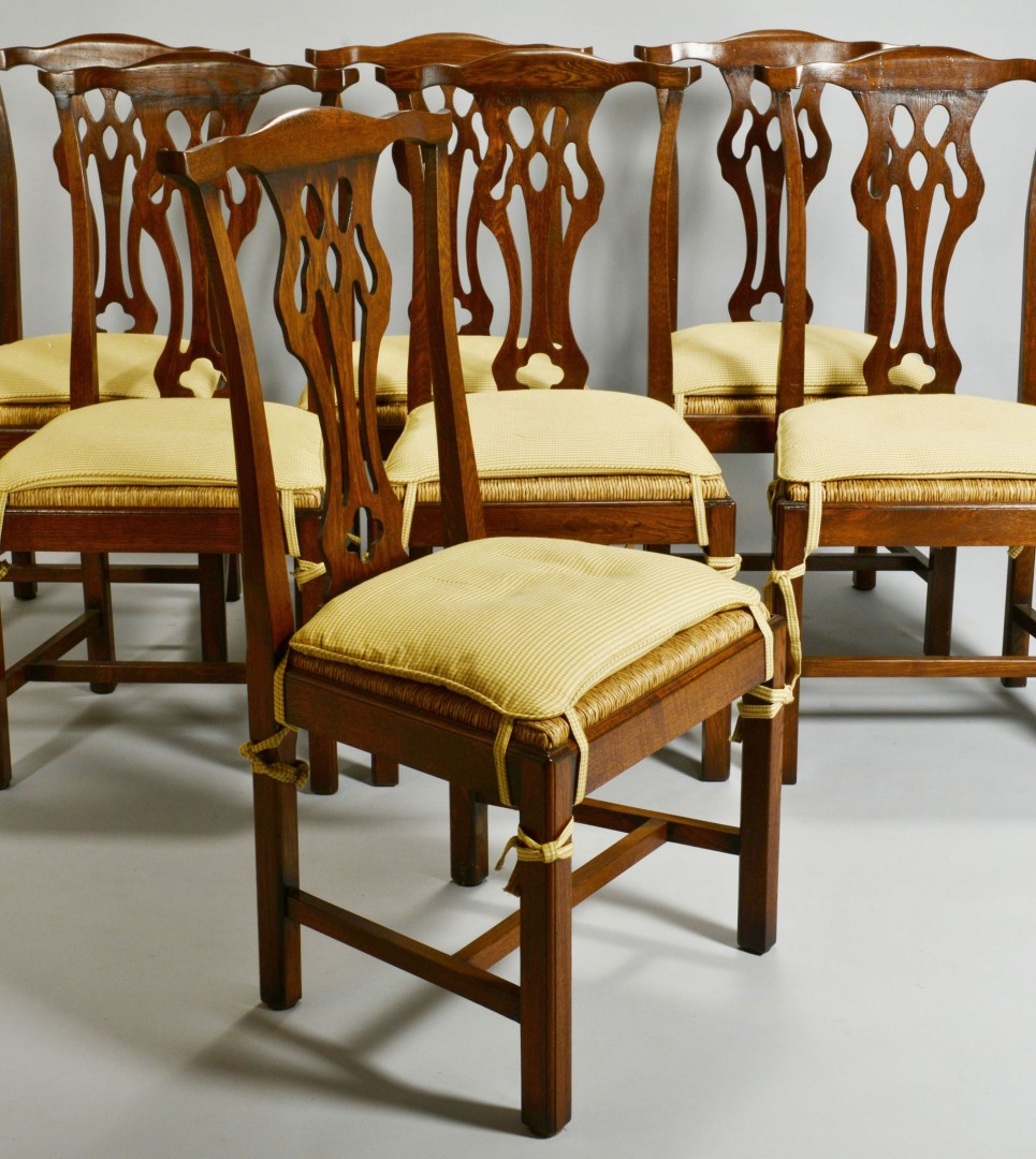 Set of 12 Chippendale style Oak Dining Chairs