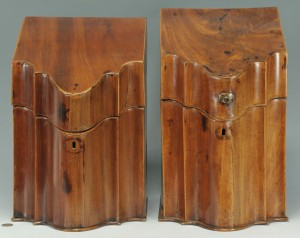 Lot 352: 2 Georgian Mahogany Knife Boxes