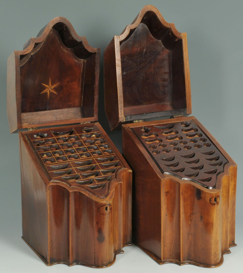 2 Georgian Mahogany Knife Boxes