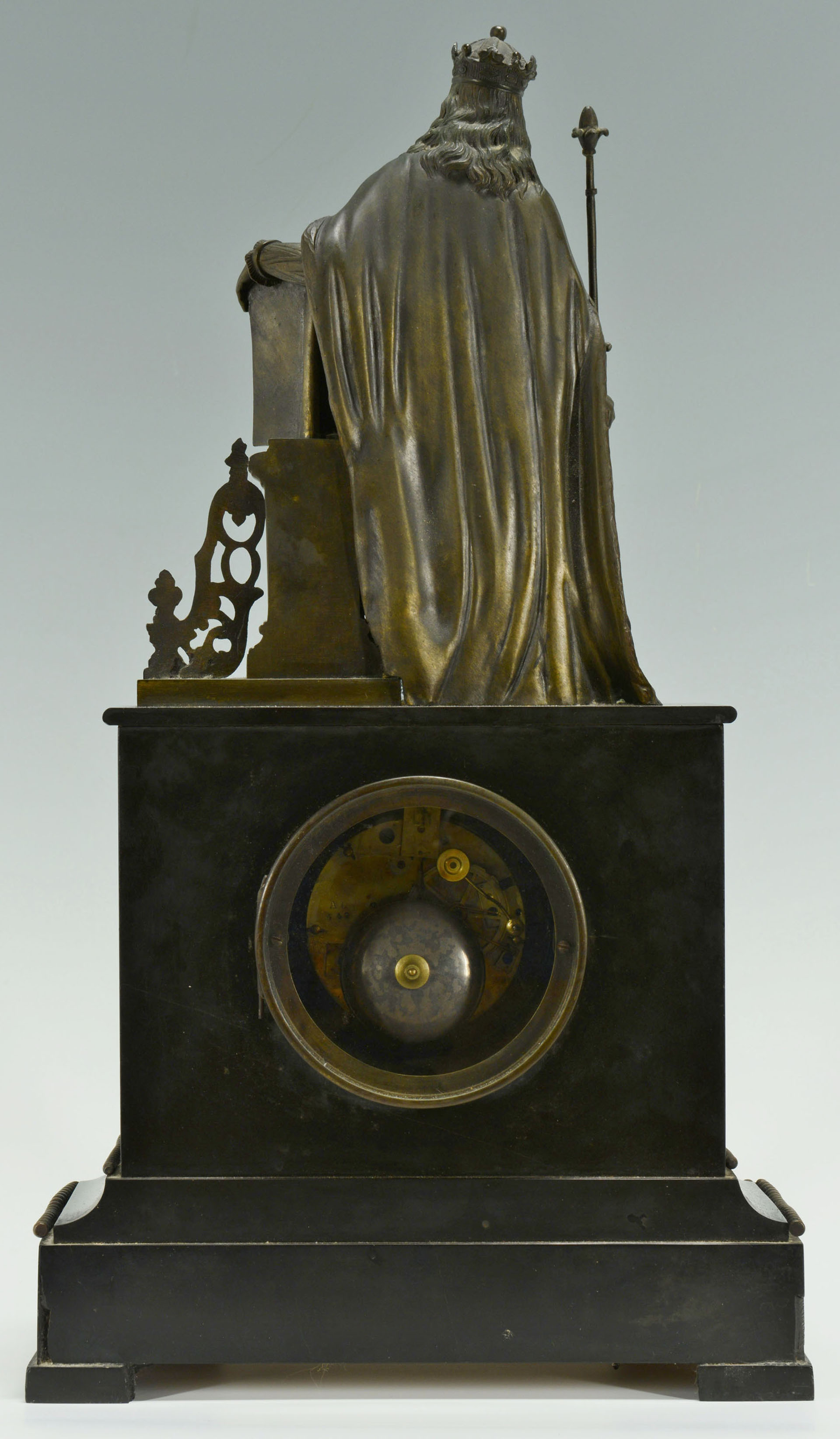 French Slate Mantel Figural Clock