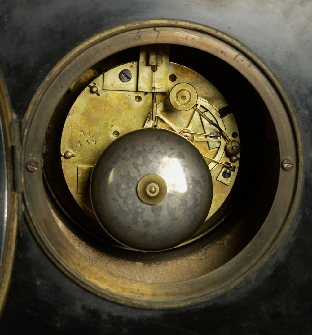Lot 355: French Slate Mantel Figural Clock