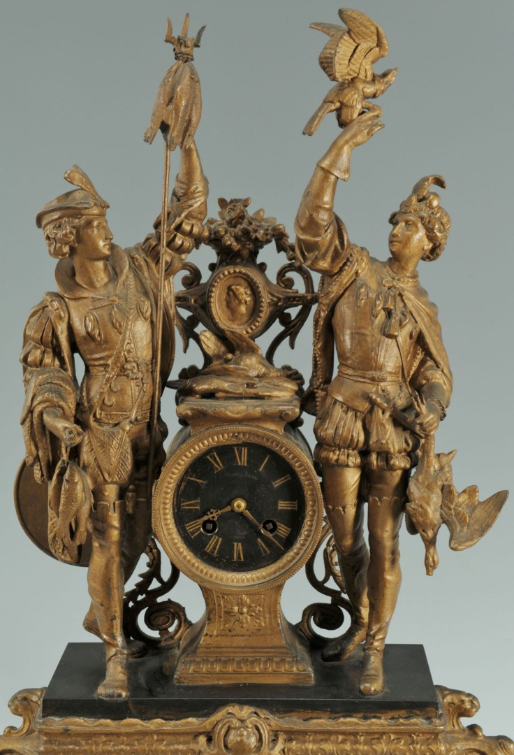 Lot 356: Spelter figural mantle clock, Samuel Marti movemen